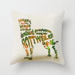 Rottweiler Dog Typography Art / Watercolor Painting Throw Pillow
