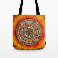 tree rings Tote Bags featuring tree rings by Asja Boros