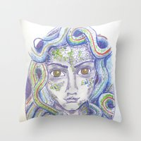 medusa Throw Pillows featuring MEDUSA by Pumpkinstrudel Studio