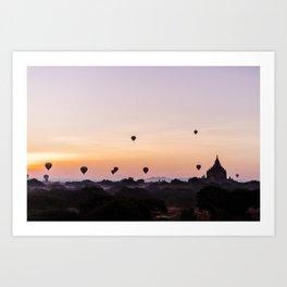 Bagan Temple Myanmar   Asia sunrise Fine art   Color - pink - travel - photography - Art print  Art Print