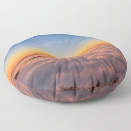 Sun peaking above clouds in the morning Floor Pillow