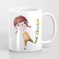 tina crespo Mugs featuring N de Tina by Chica con flequillo
