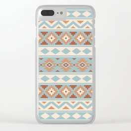 Aztec Essence Ptn IIIb Blue Crm Terracottas Clear iPhone Case