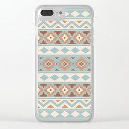 Aztec Essence Ptn IIIb Blue Crm Terracottas Clear iPhone Case