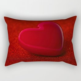 The red Heart shape on red abstract light glitter background Rectangular Pillow