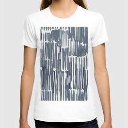Simply Bamboo Brushstroke Indigo Blue on Lunar Gray T-shirt