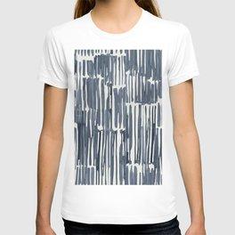 Simply Bamboo Brushstroke Indigo Blue on Lunar Gray T-shirt