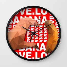 Love Heart One Hand with Banana Food Fruit Red Background Design Illustration Wall Clock
