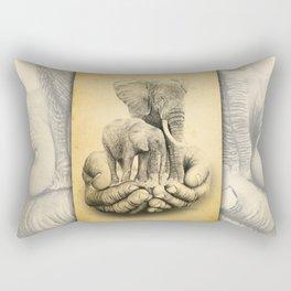 Refuge Elephants Drawing Rectangular Pillow