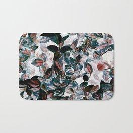 Inverted Floral - Green, Red, White leaves, leaf print, kitchen, bathroom Bath Mat