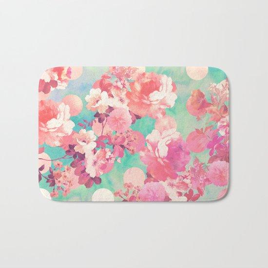 Romantic Pink Retro Floral Pattern Teal Polka Dots Bath Mat