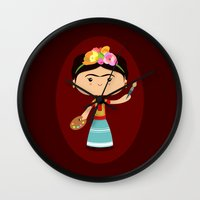 frida kahlo Wall Clocks featuring Frida Kahlo by Sombras Blancas Art & Design