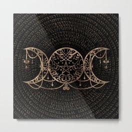 Triple Moon - Triple Goddess Gold and black Metal Print