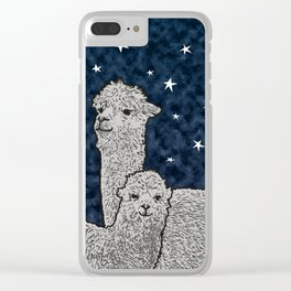 Alpacas on a starry night Clear iPhone Case