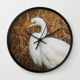 Elegant Great Egret in the Reeds Wall Clock