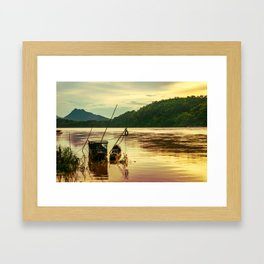 Sunset over the Mekong River Framed Art Print