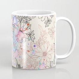 Modern vintage black rose gold watercolor floral Coffee Mug