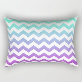 Purple Mint Aqua Ombre Chevron Pattern Rectangular Pillow