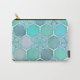 Frozen Mint Honeycomb - Doodle Hexagon Pattern Carry-All Pouch