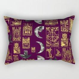 Beautiful Pagan Themed Print - Tarot Cards, Moon Cycles and Ravens Rectangular Pillow