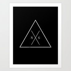 The Society Six (White Graphic) Art Print
