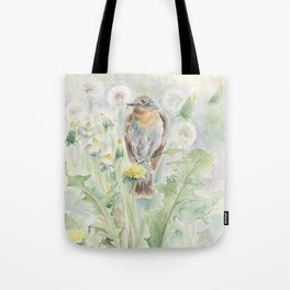 Flycatcher Wildlife bird watercolor painting Tote Bag