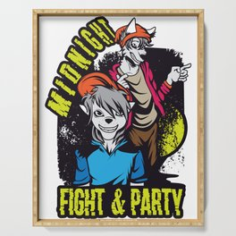 Hey! Get This Unique Detailed Tee Saying Midnight Fight & Party T-shirt Design Dog Lovers Hairdo Serving Tray