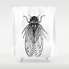 Black and White Cicada Shower Curtain