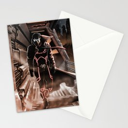 Man walking in a sci-fi city Stationery Cards