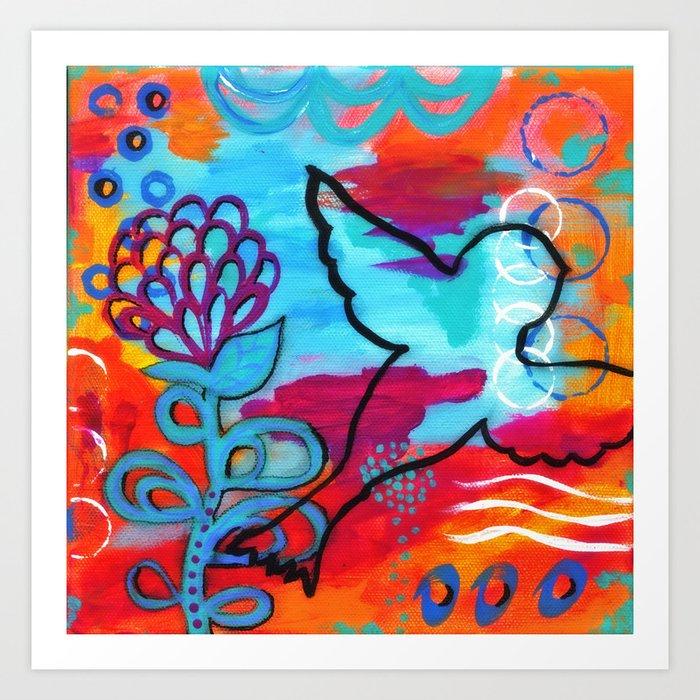 Bird Painting Orange And Purple Black Blue Pink Art Colorful Whimsical Abstract Art Print By Jilllambert