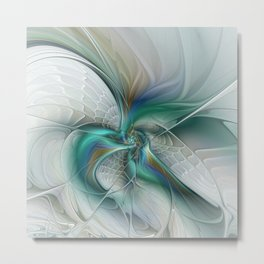 Dancing Abstract Fractal Art With Turquoise Metal Print