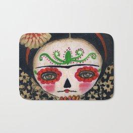 Frida The Catrina And The Skull - Dia De Los Muertos Mixed Media Art Bath Mat