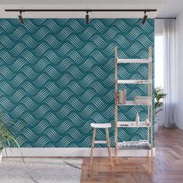 Pale Blue Wavy Tessellation Line Pattern on Tropical Dark Teal Inspired by Sherwin Williams 2020 Trending Color Oceanside SW6496 Wall Mural