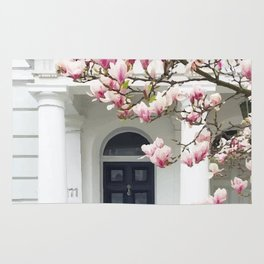 House and pink tree Rug
