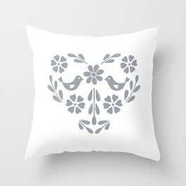 Silver heart shaped floral and birds Throw Pillow