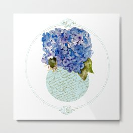 Cape Cod Hydrangeas in French script vase Metal Print
