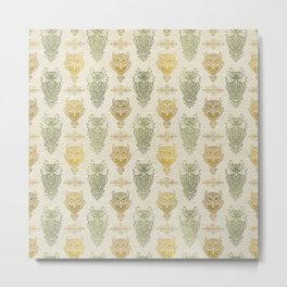 Gold and Green Glitter owl pattern on canvas Metal Print