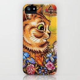 Cat Gathering Flowers-Louis Wain Cats iPhone Case