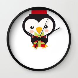 Christmas Penguins Tophat and Present Wall Clock