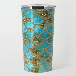 Aqua Teal & Gold Glitter MermaidScales - Mermaid Scales And Sea Foam Travel Mug