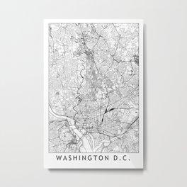 Washington D.C. White Map Metal Print