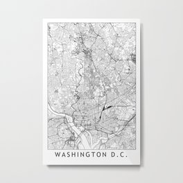 Washington D.C. White Map Metal Print