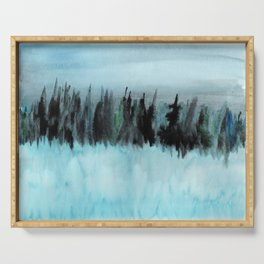 Dark Forest Across the Icy Lake Serving Tray