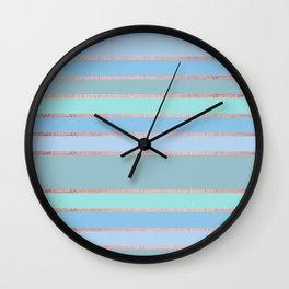 Geometric rose gold pastel blue neo mint stripes Wall Clock