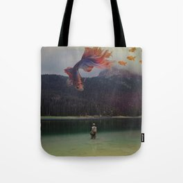 Fishing in the forest Tote Bag
