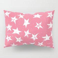 Linocut Stars- Blush & White Pillow Sham
