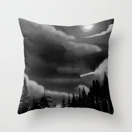 Bright Cloudy Night Sky in Black and White Throw Pillow