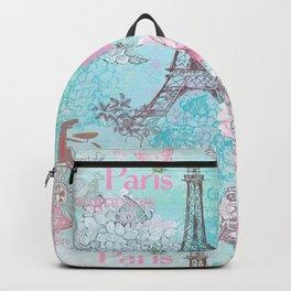 I love Paris-blue vintage illustration Backpack