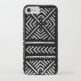 Line Mud Cloth // Black iPhone Case