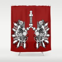 lungs Shower Curtains featuring lungs by khet13